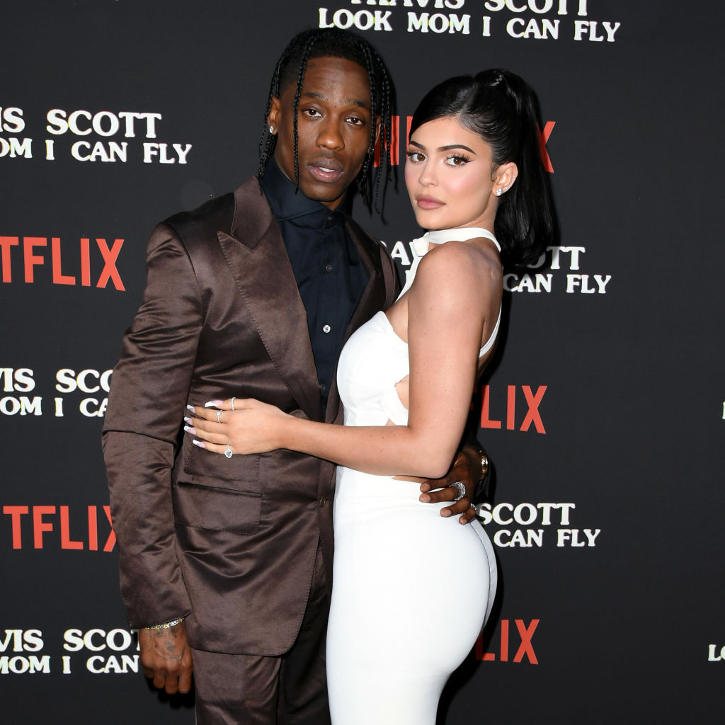 Travis Scott and Kylie Jenner at the Look Mom, I Can Fly premier