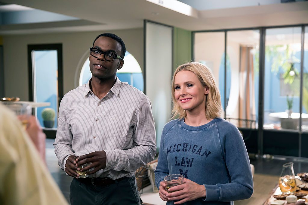 William Jackson Harper as Chidi and Kristen Bell as Eleanor on 'The Good Place.'