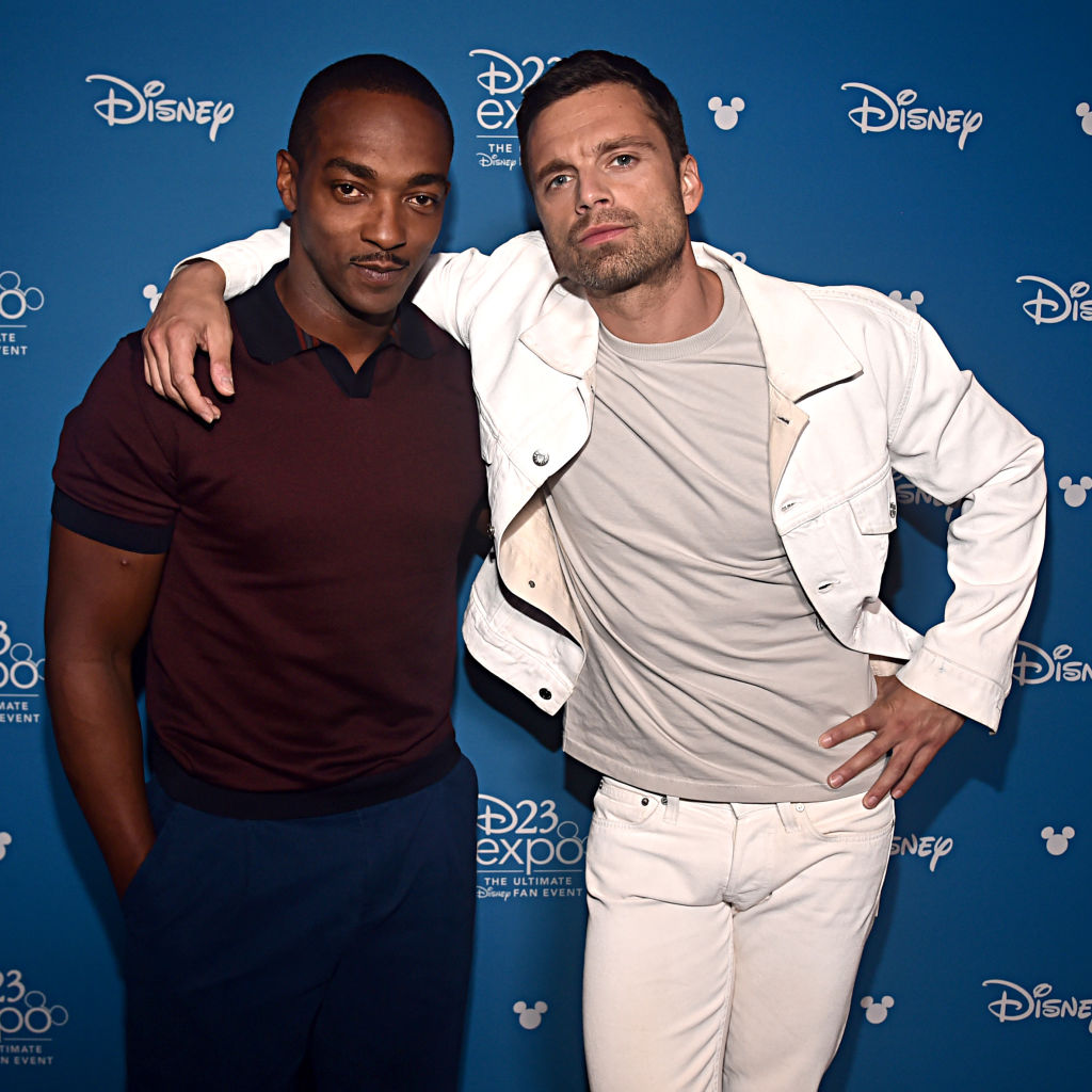 Anthony Mackie and Sebastian Stan strike a pose at the D23 Expo