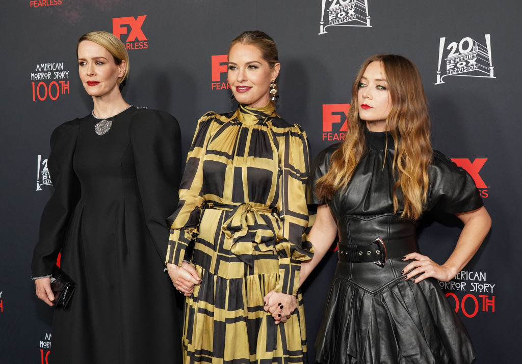 Sarah Paulson, Leslie Grossman and Billie Lourd on the red carpet at the 100th episode celebration for 'American Horror Story.'