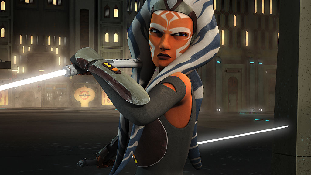 Ahsoka Tano in 'Star Wars Rebels,' about to attack.