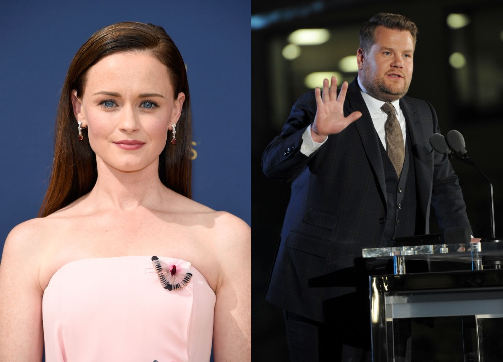 Alexis Bledel side-by-side with James Corden, the two most dangerous celebs to search.