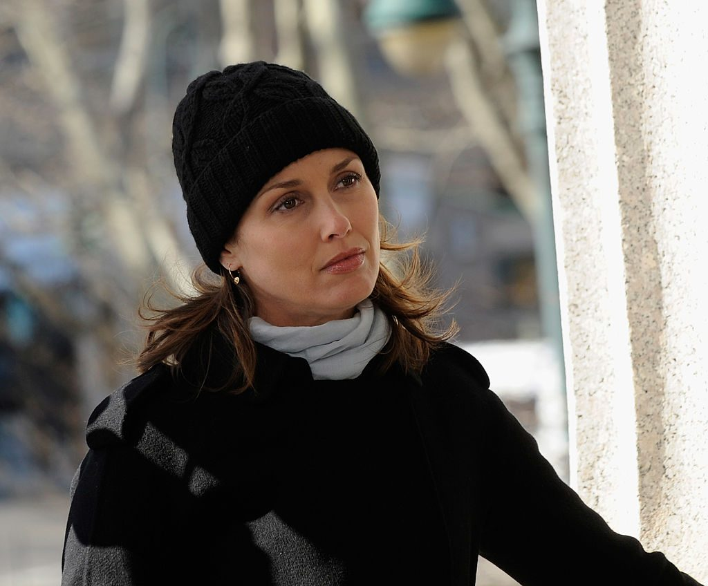 """Bridget Moynahan filming on location for """"Blue Bloods."""""""