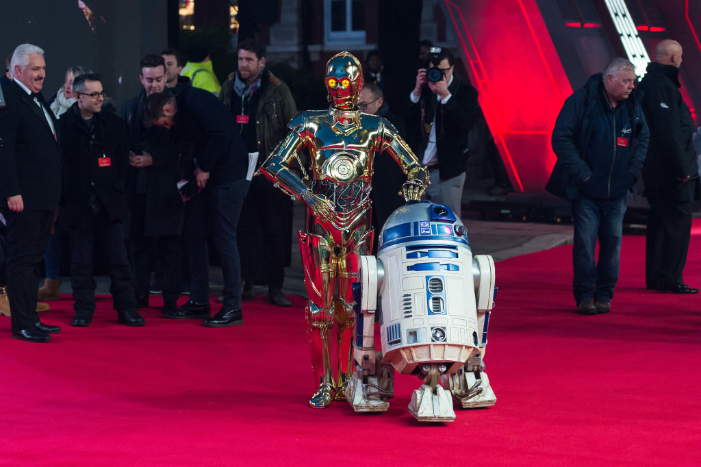 C-3PO and R2-D2 on the red carpet for 'Star Wars: The Last Jedi.'