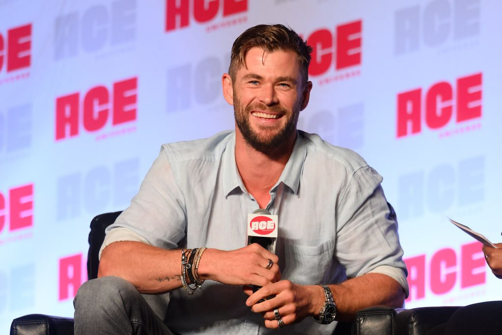 Chris Hemsworth speaks on stage during ACE Comic Con Midwest at Donald E. Stephens Convention Center.
