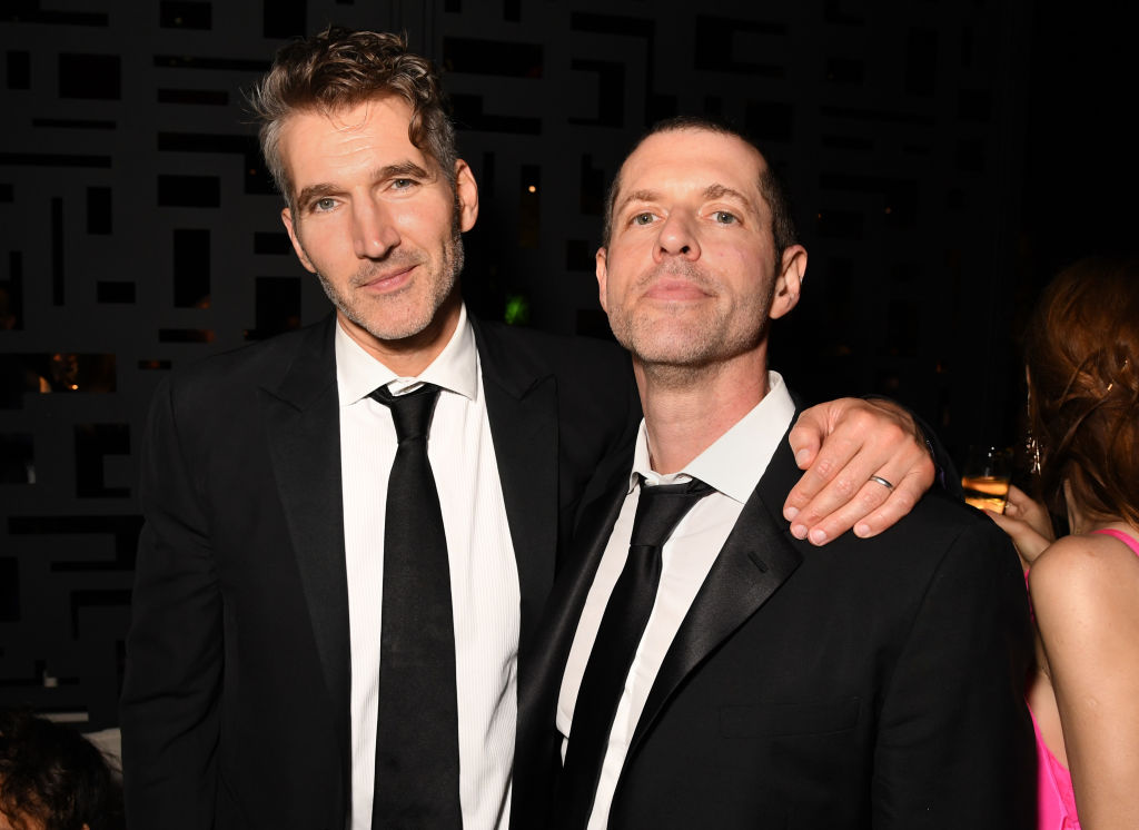 David Benioff and D.B. Weiss at an Emmy's party, 2019.