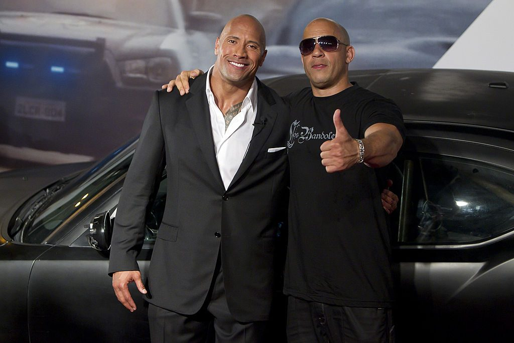 Dwayne Johnson (The Rock) and Vin Diesel at the 'Fast and Furious 5' premiere.