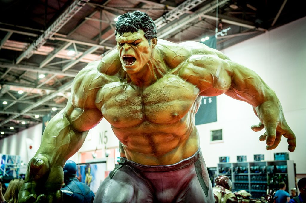 The Hulk seen during MCM London Comic Con 2017.