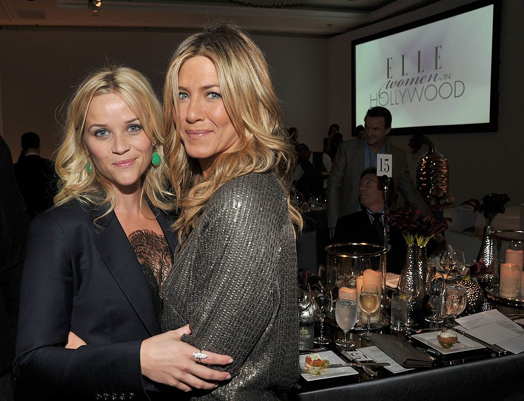Actresses Reese Witherspoon (L) and Jennifer Aniston attend ELLE's 18th Annual Women in Hollywood Tribute held at the Four Seasons Hotel.
