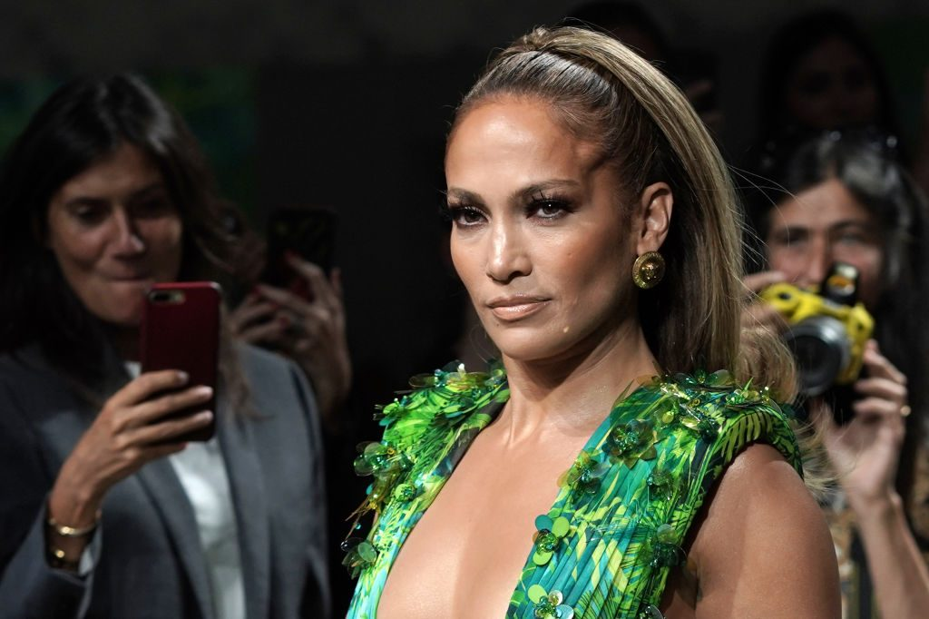 Jennifer Lopez walks the runway at the Versace show during the Milan Fashion Week Spring/Summer 2020.