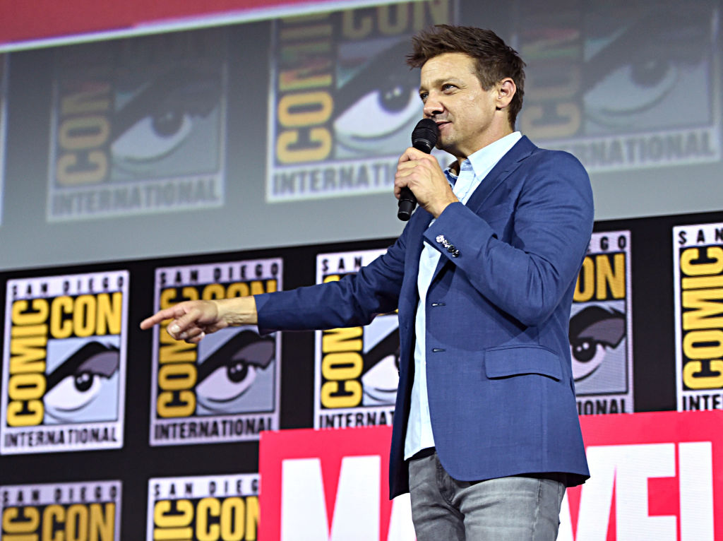 Jeremy Renner on stage at San Diego Comic Con 2019.
