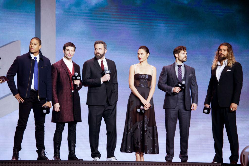 The 'Justice League' cast at a premiere.