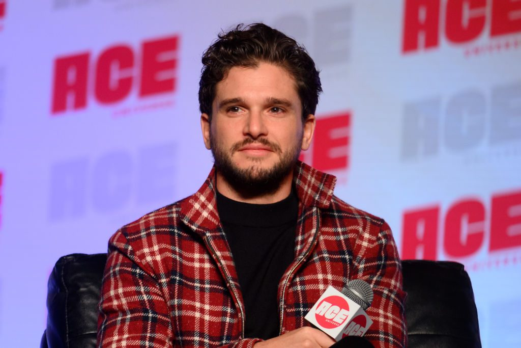 Kit Harington speaks on stage during ACE Comic Con Midwest at Donald E. Stephens Convention Center.