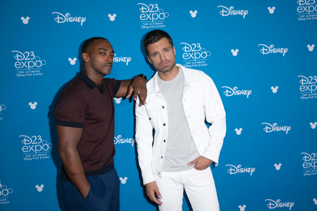 Anthony Mackie and Sebastian Stan on the red carpet at D23.