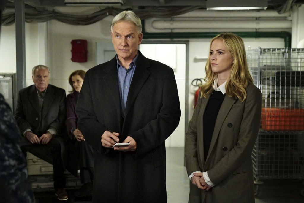 Mark Harmon as Agent Gibbs and Emily Wickersham as Agent Bishop on 'NCIS.'