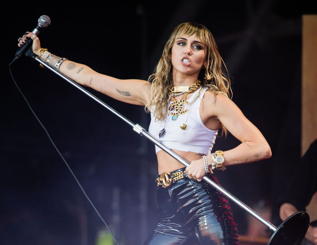 Miley Cyrus performs during Glastonbury Festival on June 30, 2019