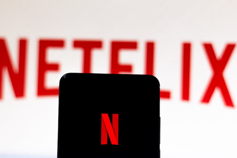 Netflix logo shown on a smart phone screen