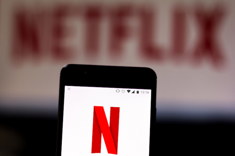 Netflix logo shown on a smart phone