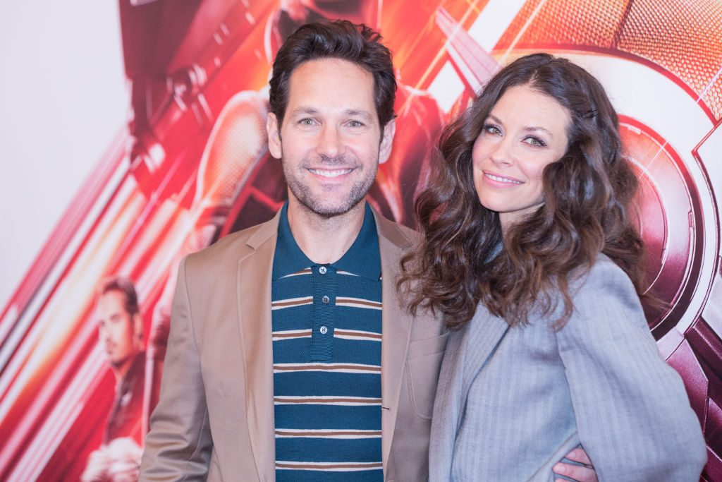 """Paul Rudd and Canadian actress Evangeline Lilly during the photocall at the Hotel De Russie in Rome of the film """"Ant-Man and the Wasp."""""""