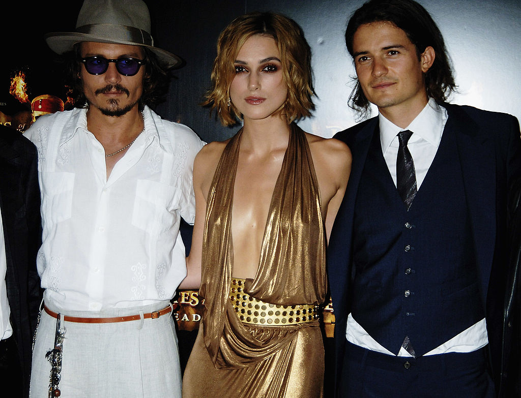 The core cast of 'Pirates of the Caribbean 2: Dead Man's Chest' at the European premiere.