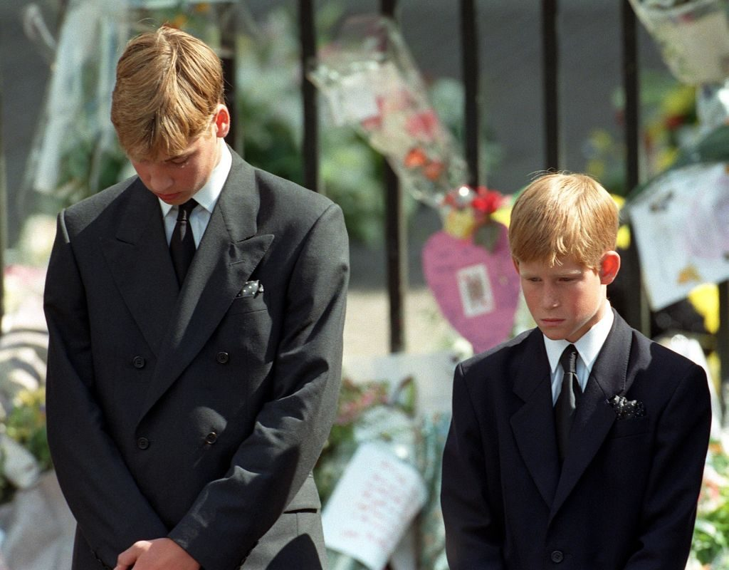 Prince William Prince Harry at Princess Diana's funeral