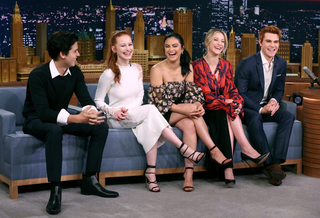 L-R: Cole Sprouse, Madelaine Petsch, Camila Mendes, Lili Reinhart and KJ Apa on The Tonight Show