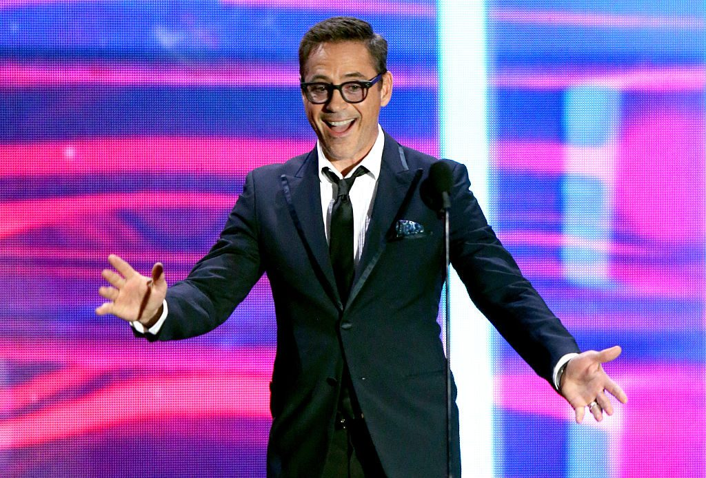 Robert Downey Jr. speaks onstage during the 2015 Jaguar Land Rover British Academy Britannia Awards.