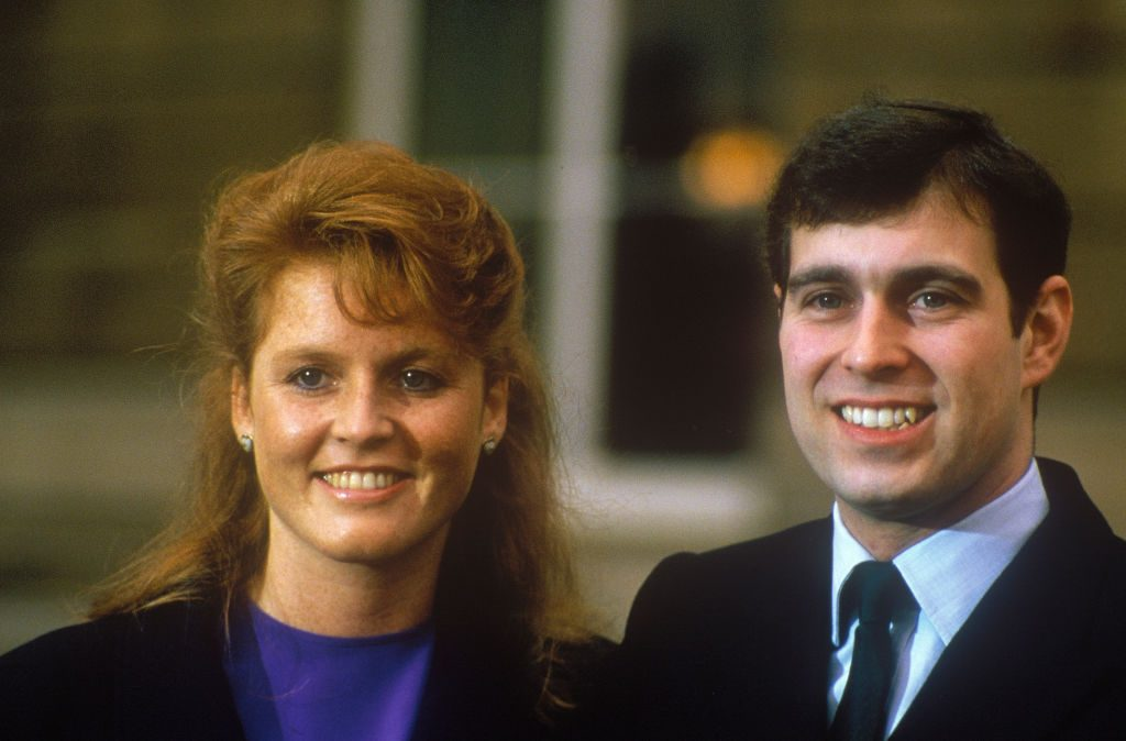 Prince Andrew and Sarah Ferguson after announcing their engagement in 1986.