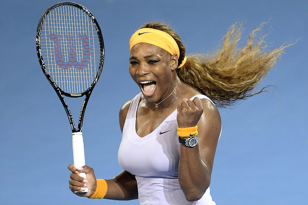 Serena Williams of the USA celebrates victory after winning her finals match against Victoria Azarenka of Belarus.