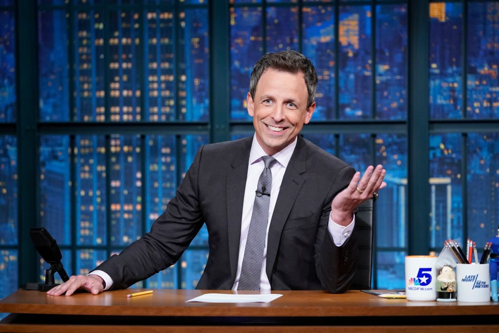 Seth Meyers delivers the monologue from his desk.