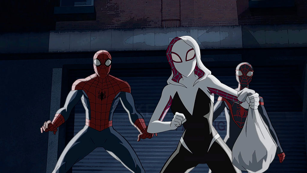 Spider-Gwen, Spider-Man, and Miles Morales in 'Marvel's Ultimate Spider-Man Vs. The Sinister 6' animated series.