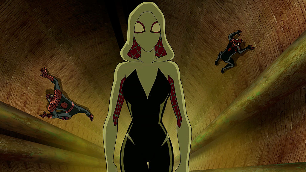 Spider-Gwen, also known as Ghost-Spider, in the show 'Marvel's Ultimate Spider-Man VS. The Sinister 6.'