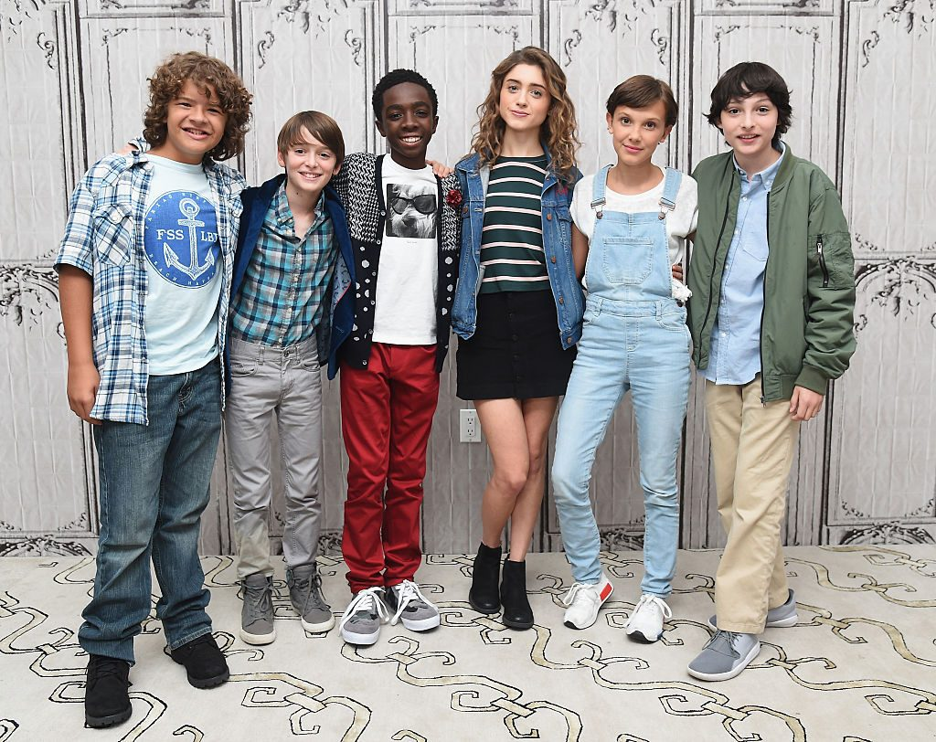 "Actors Gaten Matarazzo, Noah Schnapp, Caleb McLaughlin, Natalia Dyer, Millie Bobby Brown and Finn Wolfhard of ""Stranger Things"""