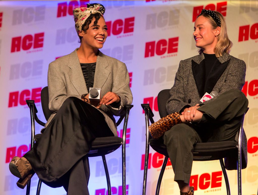 Tessa Thompson and Brie Larson at ACE Comic Con Midwest on October 12, 2019