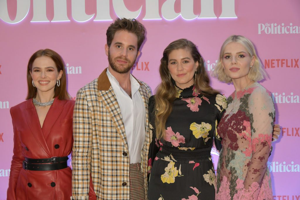 "(L-R) Zoey Deutch, Ben Platt, Laura Dreyfuss, and Lucy Boynton attend a Netflix special screening of ""The Politician"""
