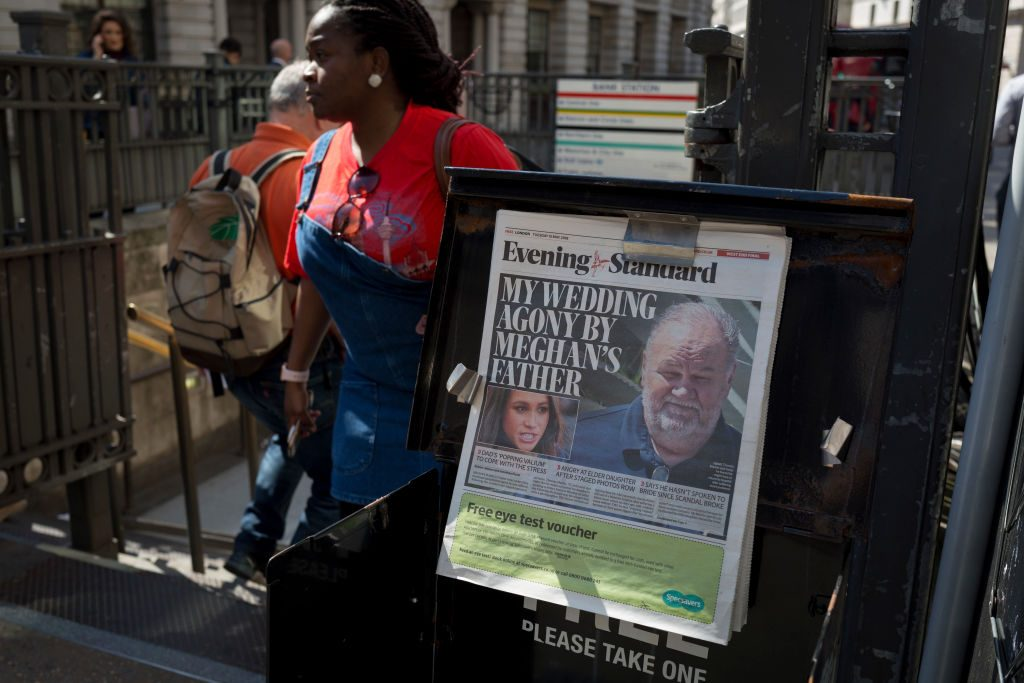 Evening Standard headlines with news of Meghan Markle's father not attending the upcoming royal wedding