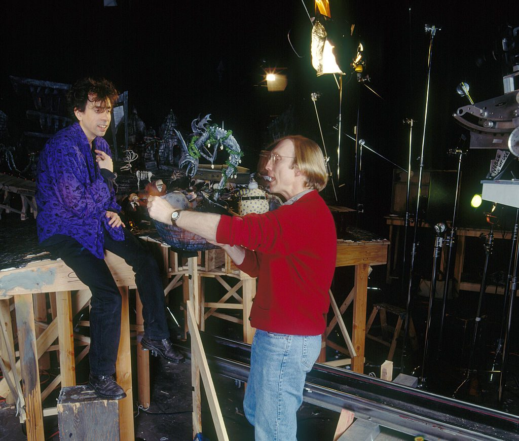 Tim Burton and Henry Selick on the set of The Nightmare Before Christmas