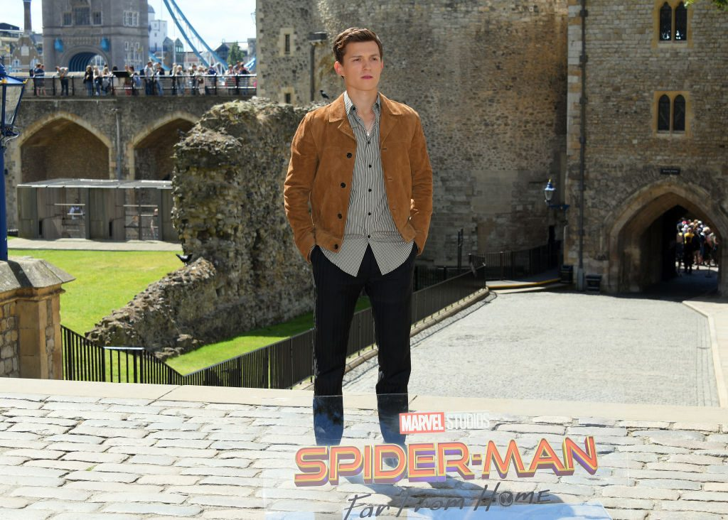 "Tom Holland at a photocall for ""Spider-Man: Far From Home"" at the Tower of London on June 17, 2019"