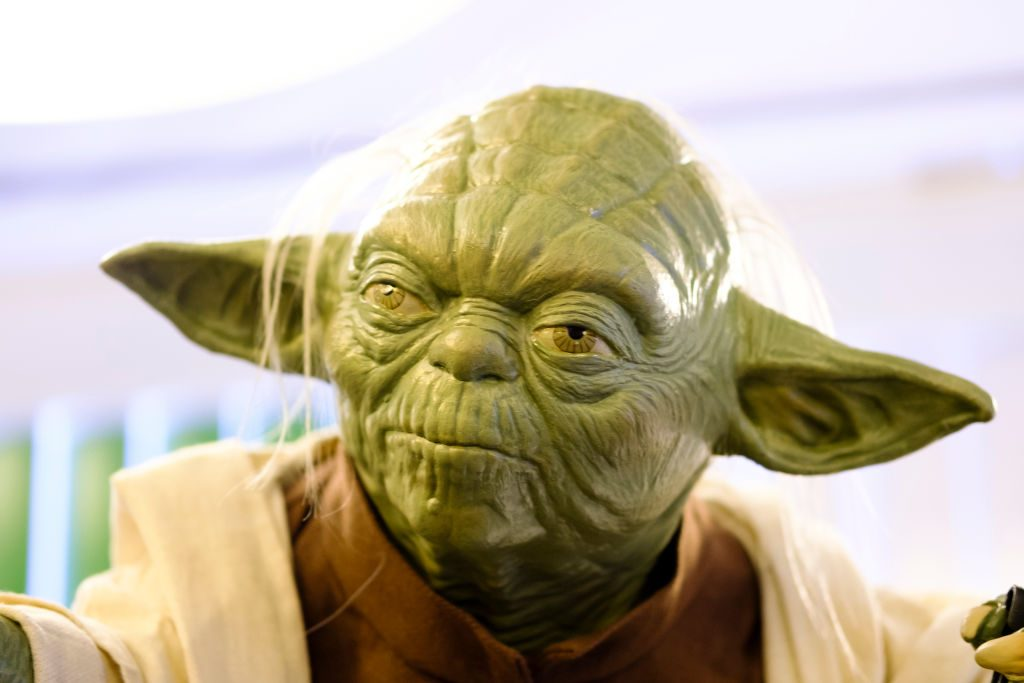 A sculpture of Yoda is exhibited at the 'Star Wars Exhibition' at Telefonica flagship store on December 17, 2017, in Madrid, Spain.