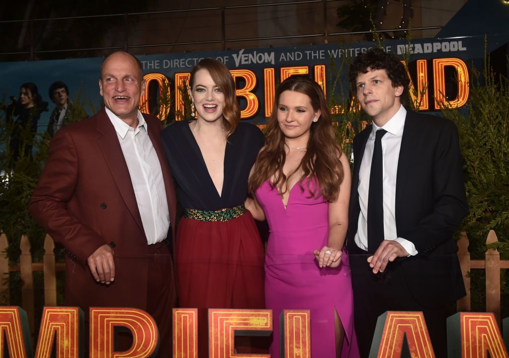 Woody Harrelson, Emma Stone, Abigail Breslin, and Jesse Eisenberg at the premiere of & # 39; Zombieland: Double Tap & # 39;