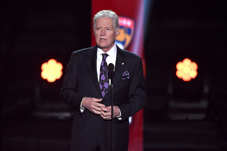 Alex Trebek speaks onstage