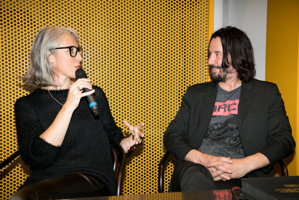 Alexandra Grant and Keanu Reeves at a 2017 book event