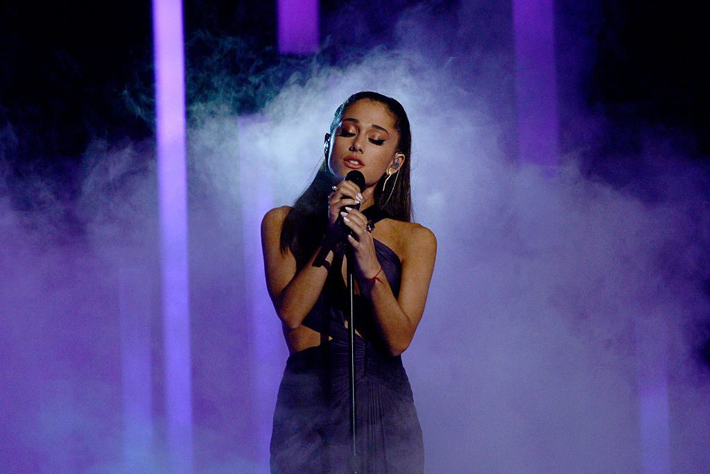 Singer Ariana Grande performs onstage during The 57th Annual GRAMMY Awards