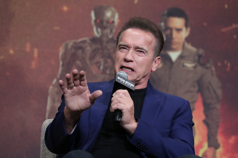 Arnold Schwarzenegger speaks at a press conference