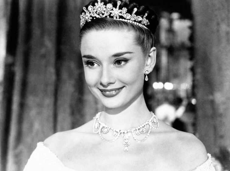 Audrey Hepburn wearing a tiara