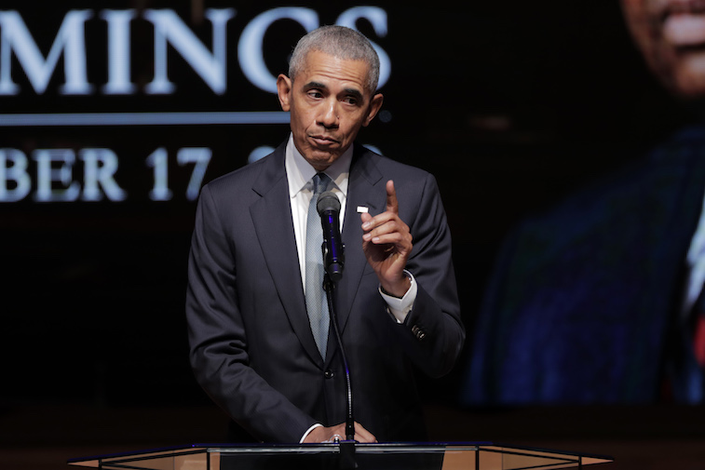 Barack Obama speaks onstage
