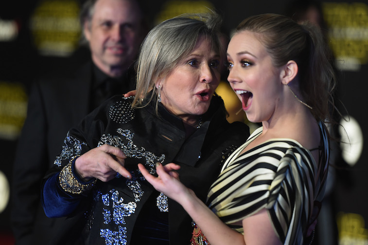 Billie Lourd and Carrie Fisher on the red carpet