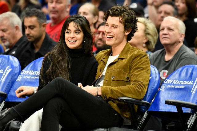 Camila Cabello and Shawn Mendes at a basketball game between the Los Angeles Clippers and the Toronto Raptors on Nov. 11, 2019