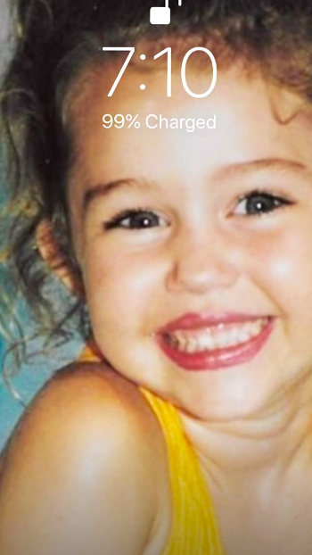 Cody Simpson's Instagram Story showing Miley Cyrus' face as a child