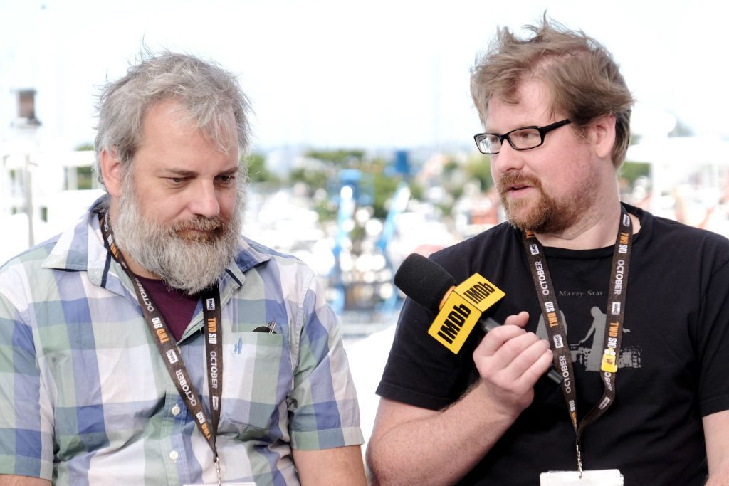 Dan Harmon and Justin Roiland speak onstage at the #IMDboat at San Diego Comic-Con 2019